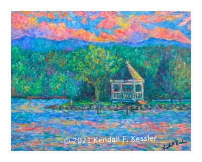 Blue Ridge Parkway Artist is Pleased with Claytor Lake painting
