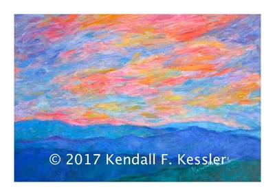 Blue Ridge Parkway Artist is Pleased with Latest Lake Sunset painting