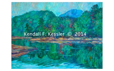 Blue Ridge Parkway Artist has started another Claytor Lake Painting and Raisins on Top...