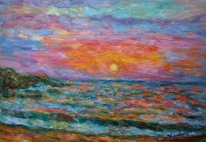 Kendall Kessler Offers Canvas Prints Of Award Winning Painting, Burning Shore, At Greatly Reduced Price